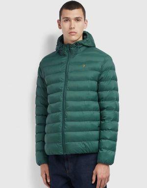 Farah Strickland Wadded Coat in Emerald Green