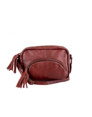 Black Colour Elvira Leather Tassel Shoulder Bag in Plum
