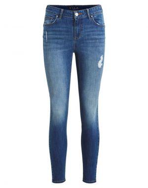 Vila Commit Push Up Jeans in Dark Blue Denim