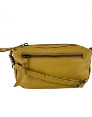 Black Colour Soft Box Leather Bag in Yellow