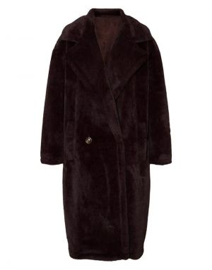 Vero Moda Safia Long Faux Fur Coat in Chocolate