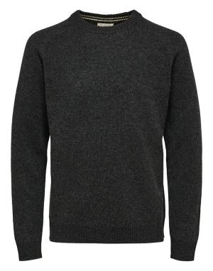 Selected Homme Coban Lambs Wool Crew in Anthracite