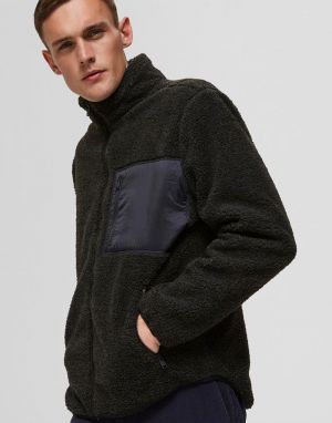 Selected Homme Jaxon Teddy Jacket in Forest Night