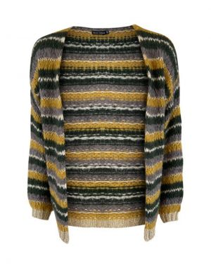 Black Colour Gail Lurex Striped Cardigan in Mustard
