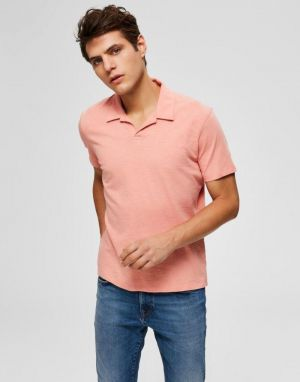 Selected Homme Jared Slub Polo in Lobster Bisque
