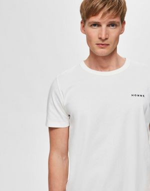 Selected Homme Nicki Embroidered T-Shirt in Egret