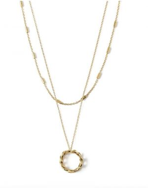 Orelia Chain Link Open Circle 2 Row Necklace in Gold