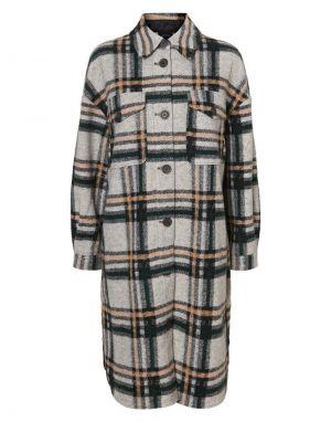 Vero Moda Chrissie Long Check Jacket in Grey