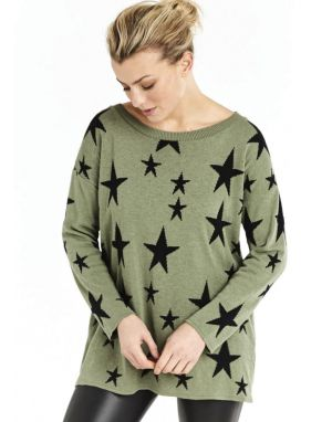 A Postcard from Brighton Starry Knitted Top in Khaki & Black
