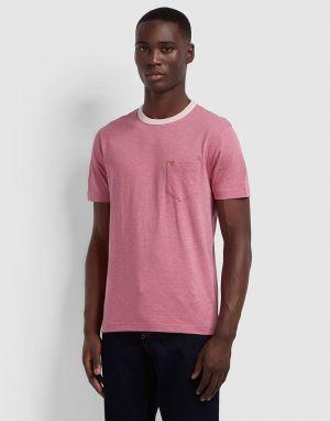 farah grooves ringer pocket t-shirt in dusty pink