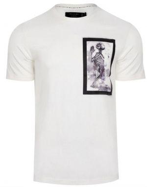 Religion Skeleton Paint Bondage T-shirt in White