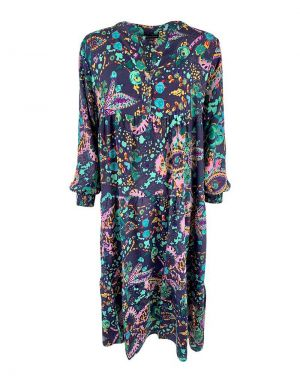 Black Colour Luna Boho Long Dress in Grey Floral