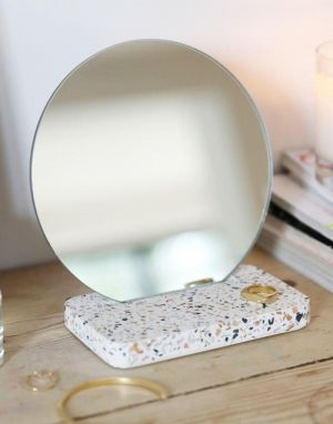 Lisa Angel Round Bathroom Terrazzo Mirror