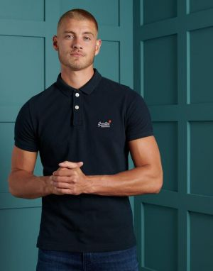 Superdry Classic Pique Polo T-shirt in Navy Eclipse