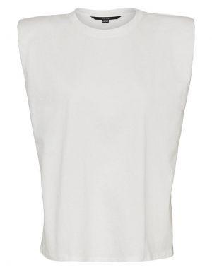 Vero Moda Nete Sleeveless Padded T-shirt in White