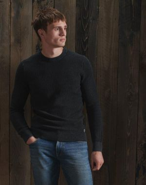 Superdry Academy Dyed Textured Crew in Washed Carbon Black