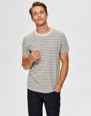 Selected Homme Carl Stripe T-Shirt in Bone White