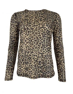 Black Colour Annie Mesh Blouse in Brown Leopard