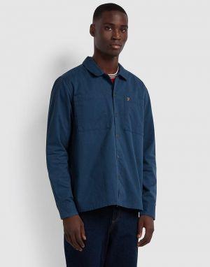 farah dallam twill shirt in yale blue