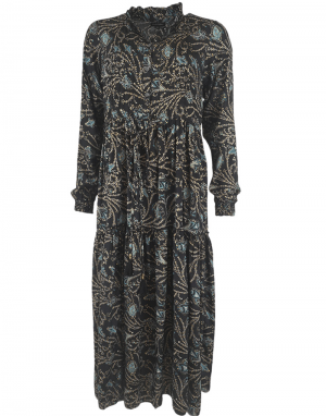 Black Colour Luna Rose Boho Dress in Coco Blue