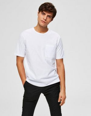 selected homme loui tee in bright white