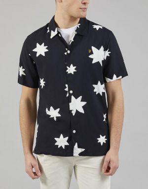 mens farah shirt in navy