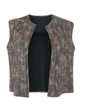 Black Colour Reggie Quilted Short Gilet in Black