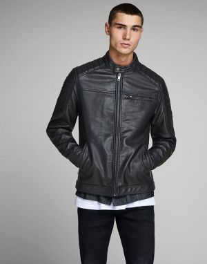jack and jones rocky leather jacket in black