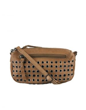Black Colour Soft Box Studded Leather Bag in Tan Frappe