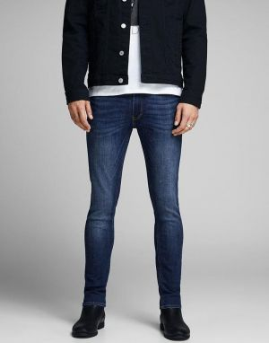 jack and jones liam skinny jeans in blue denim