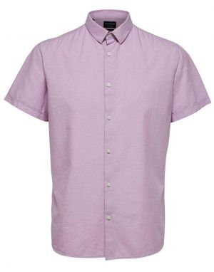 Selected Homme Regular Linen Shirt in Lavender Herb