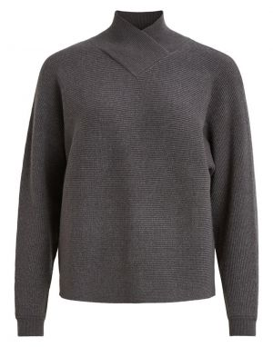 Vila Ramas Overlap Neck Knitted Jumper in Dark Grey