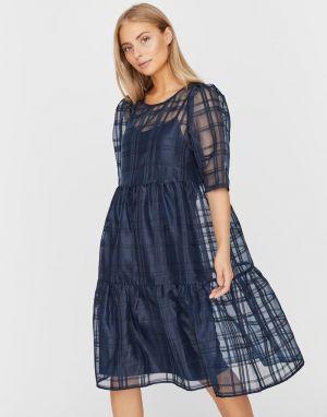 Vero Moda Ava Organza Dress in Navy