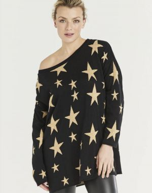 A Postcard from Brighton Starry Knitted Top in Black & Gold