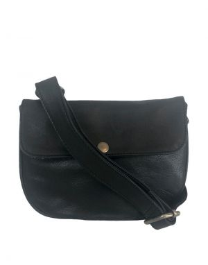 Black Colour Petra Leather Belt Bag in Black