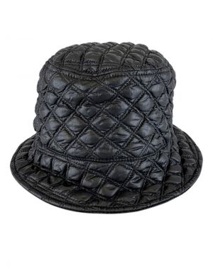 Black Colour Puffy Quilted Bucket Hat