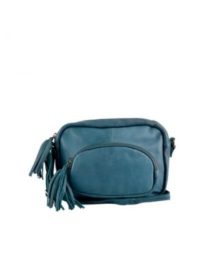 Black Colour Elvira Leather Tassel Shoulder Bag in Blue