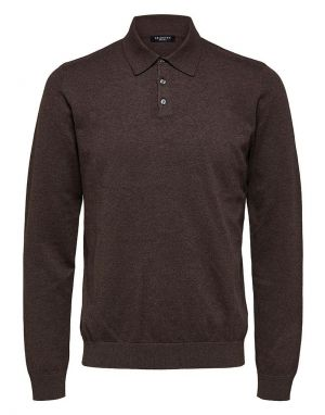 Selected Homme Berg Polo Shirt in Coffee Bean