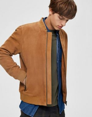 mens suede bomber jacket in light brown