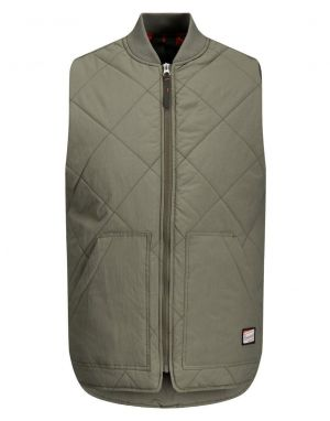 Jack and Jones Worker Quilted Bodywarmer in Dusty Olive
