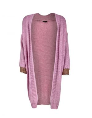 Black Colour Lissie Cardigan in Candy Rose Pink