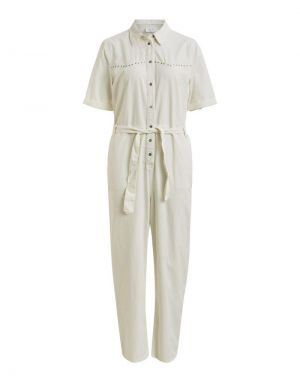 Vila Maxine Denim Boiler Suit in White