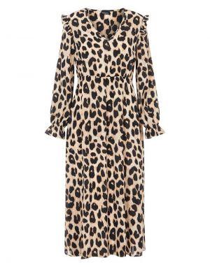 Pieces Nolly Midi Dress in Leopard
