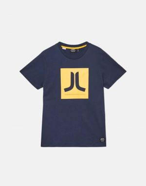 mens wesc classic logo box icon t-shirt in navy