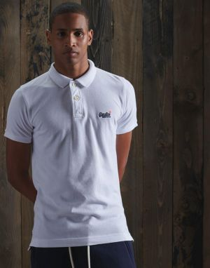 Superdry Classic Pique Polo T-shirt in White Optic
