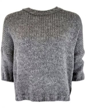 Black Colour Tiana Knit Blouse in Grey