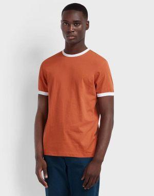 farah groves ringer t-shirt in red