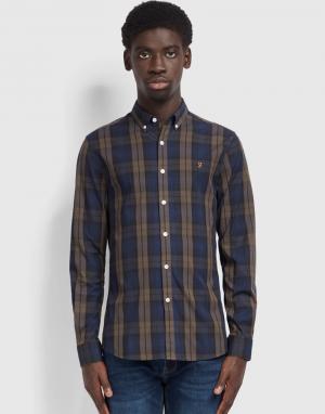 Farah Brewer Tartan Shirt in Rich Grey