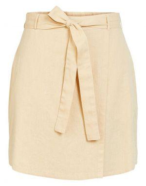 Pieces Alinen Skirt in Warm Sand