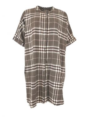 Black Colour Isadora Checked Oversized Shirt in Brown